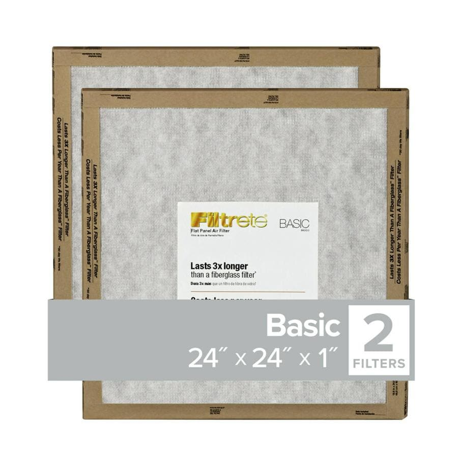 Filtrete 2-Pack (Common: 24-in x 24-in x 1-in; Actual: 23.7-in x 23.7-in x 0.6562-in) Basic Flat Air Filters