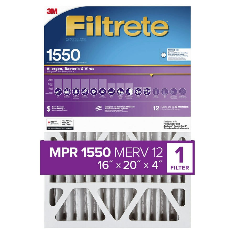 Filtrete 1550 MPR Ultra Allergen (Common: 16-in x 20-in x 4-in; Actual: 15.75-in x 19.75-in x 4.31-in) Electrostatic Pleated Air Filter