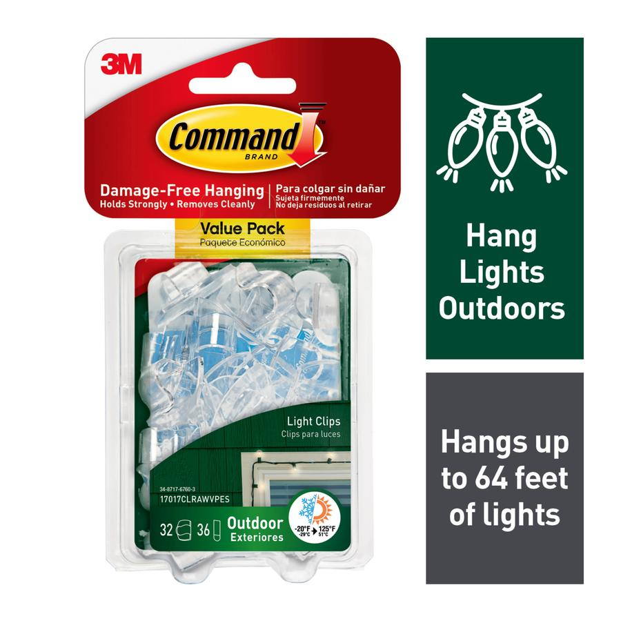 Command 32-Pack Clear Adhesive Hooks