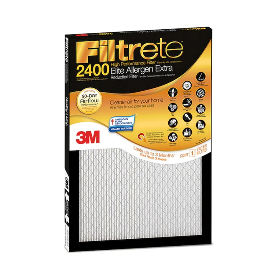 Filtrete 2400 MPR Elite Allergen Extra (Common: 14-in x 20-in x 1-in; Actual: 13.7-in x 19.6-in x 0.7812-in) Electrostatic Pleated Air Filter