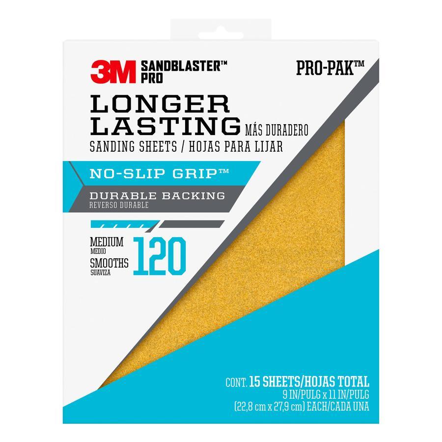 3M SandBlaster Pro 15-Pack 9-in W x 11-in L 120-Grit Premium Paper Sandpaper
