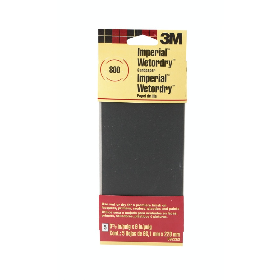 3M 5-Pack 3.67-in W x 9.0000-in L 800-Grit Industrial Sandpaper