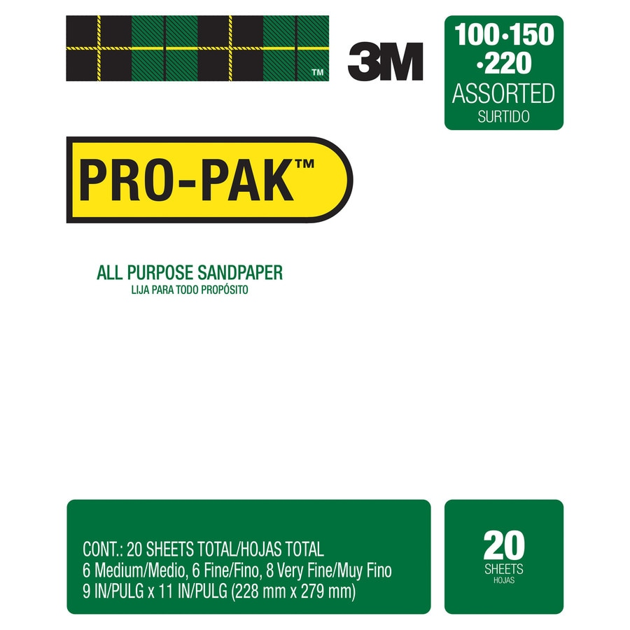 3M 20-Pack 9-in W x 11-in L Multi-grade Pack-Grit Commercial Paper Sandpaper