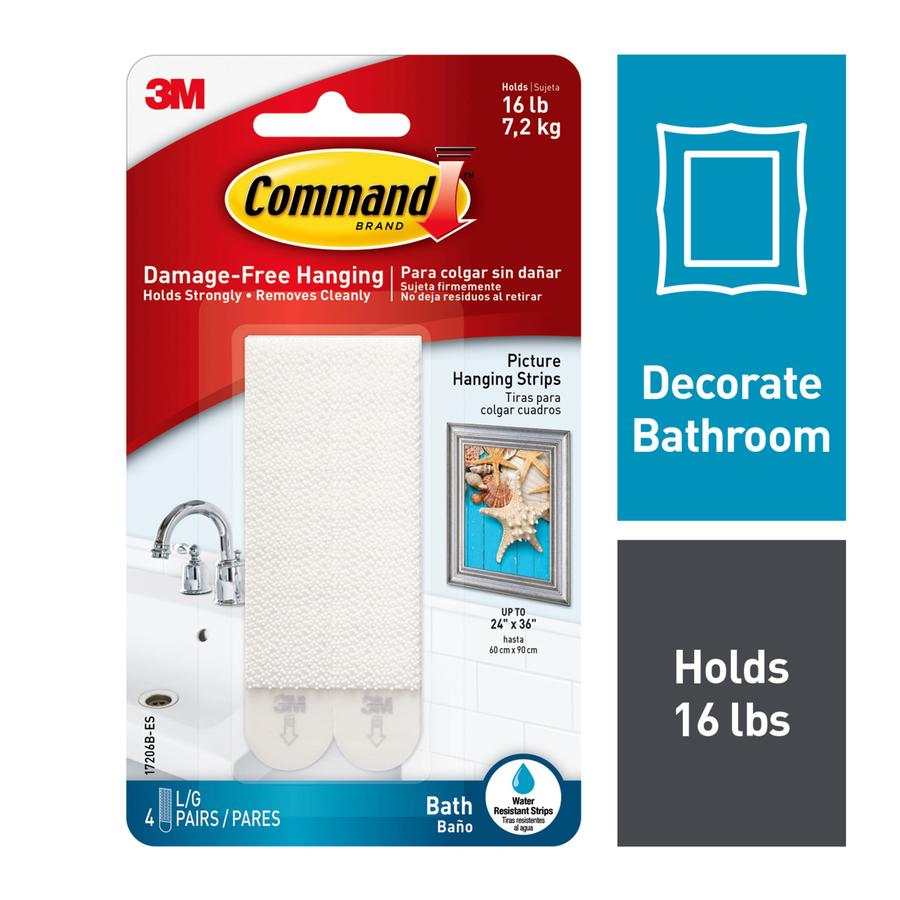 Command Large Bath Picture Hanging Strips