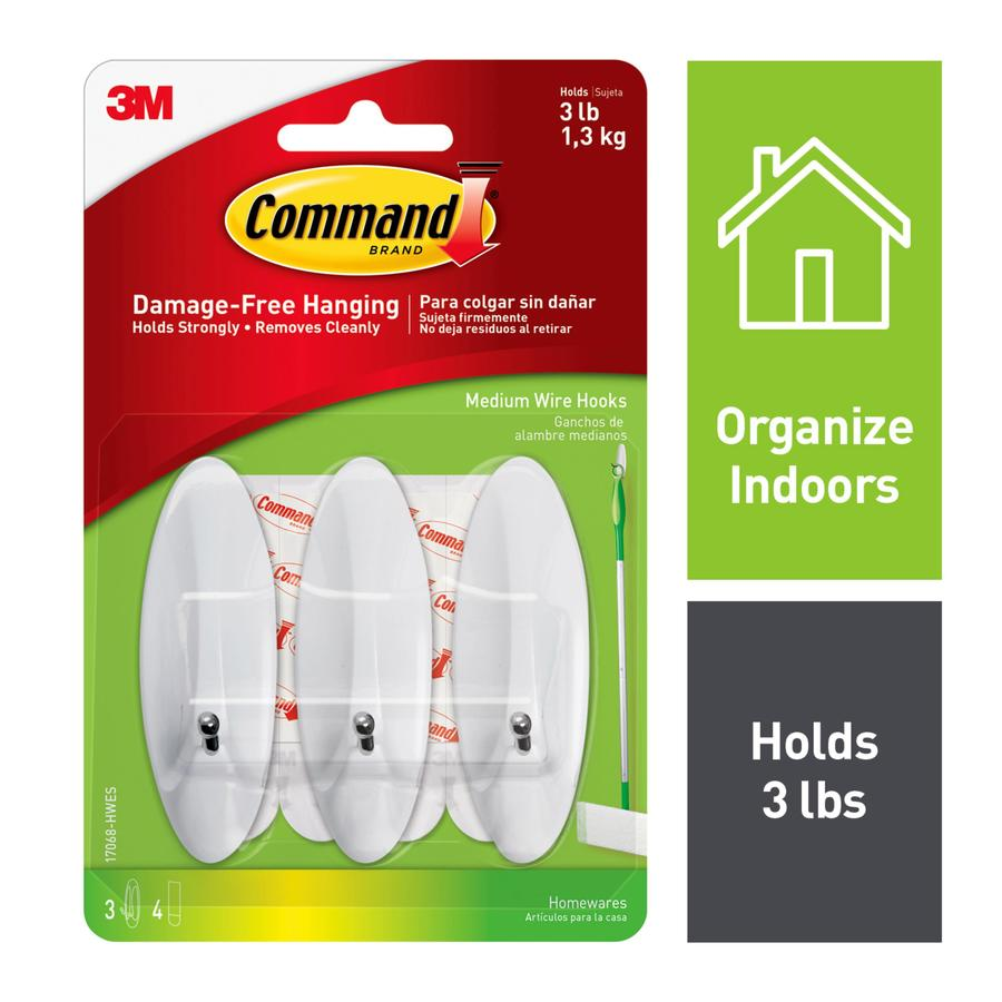 Command 3-Pack White Adhesive Hook