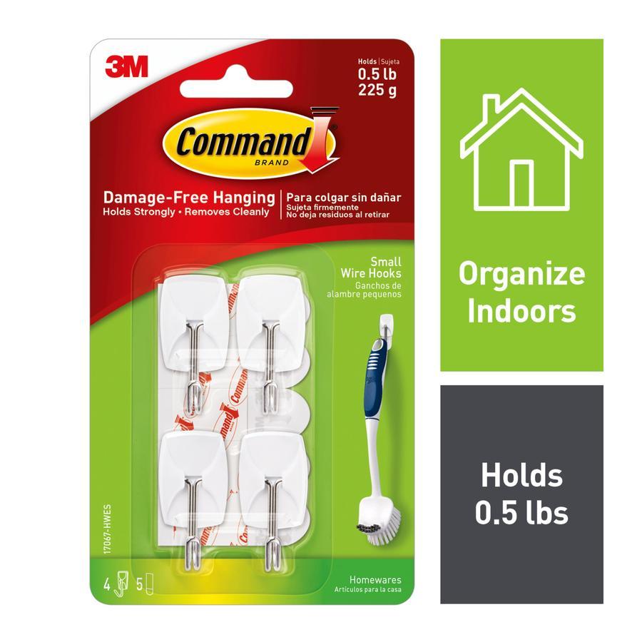 Command 4-Pack White Utility Hooks