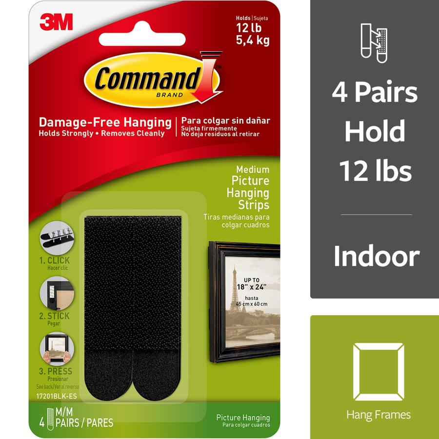 Command Command(Tm) Picture Hanging Strips, Medium, Black