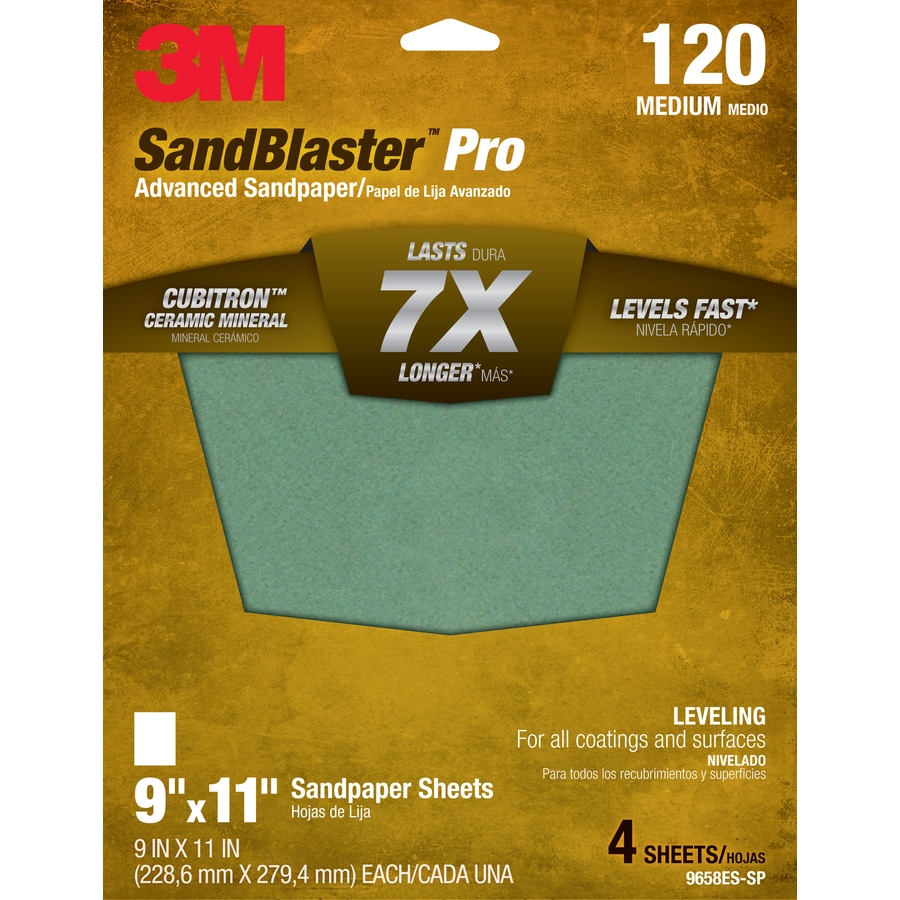 3M 4-Pack 9-in W x 11-in L 120-Grit Commercial Sandpaper Sheets