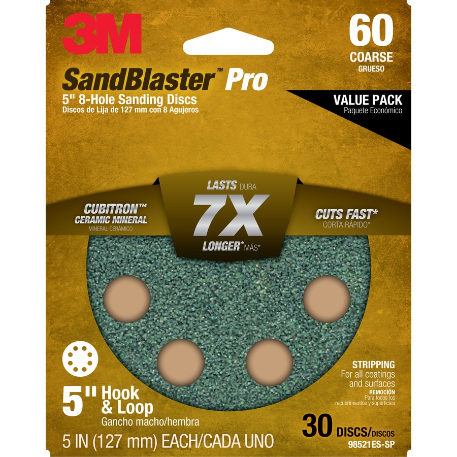 3M 30-Pack 5-in W x 5-in L 60-Grit Commercial Discs Sandpaper