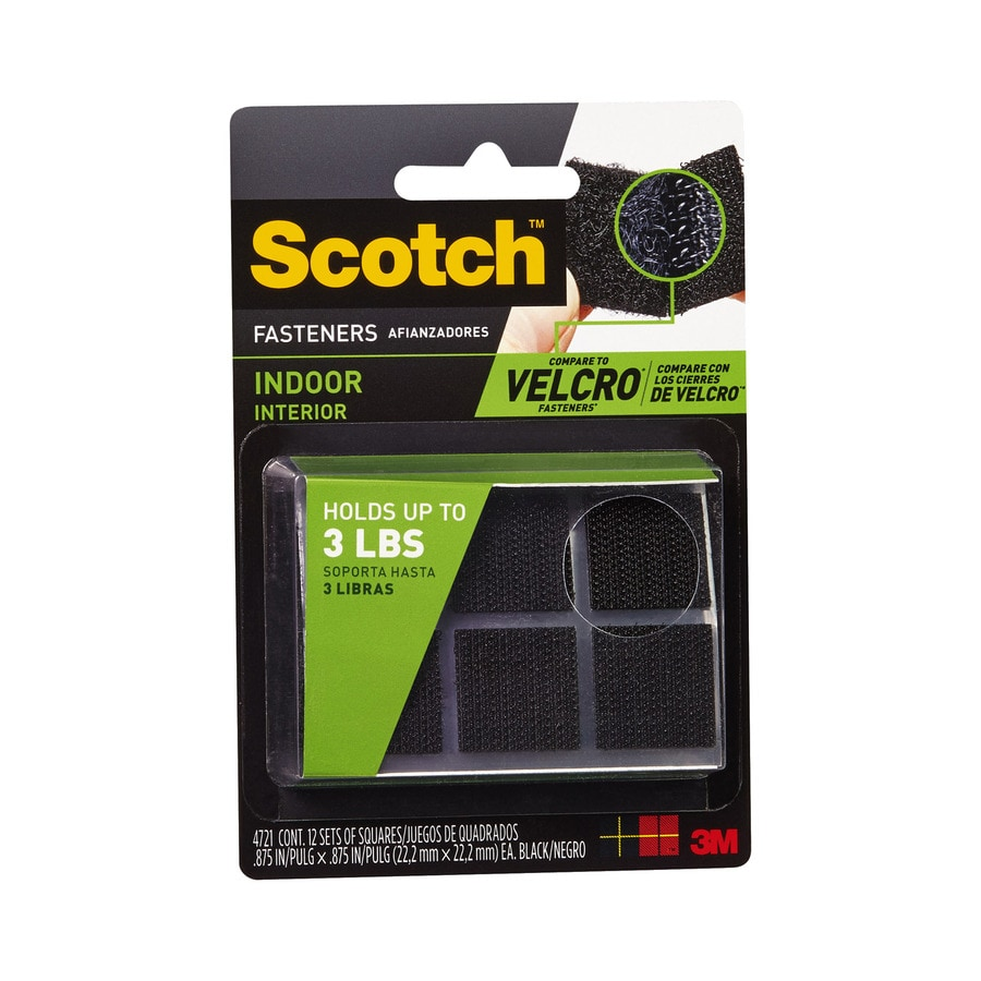 Scotch 4-Pack 0.875-in x 0.875-in Black Square Fasteners