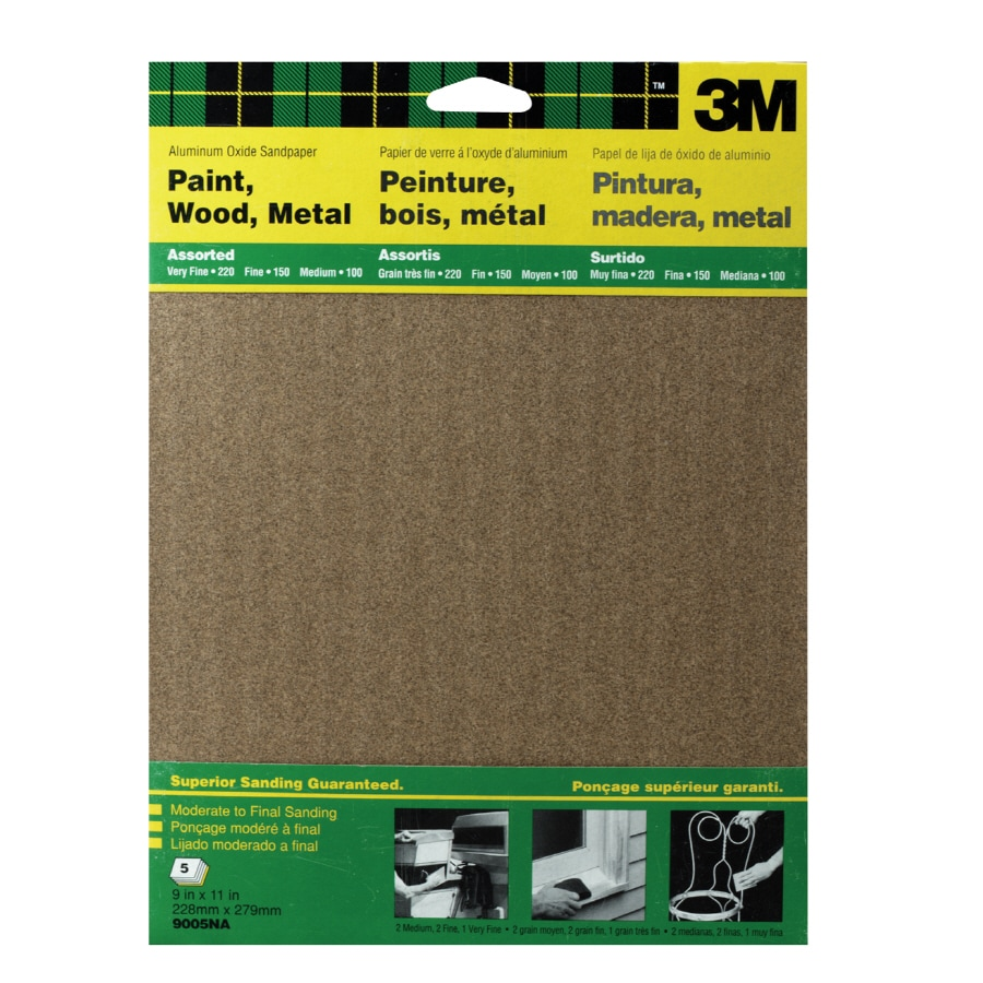 3M 5-Pack 9-in W x 11-in L Multi-Grade Pack Commercial General Purpose Sandpaper