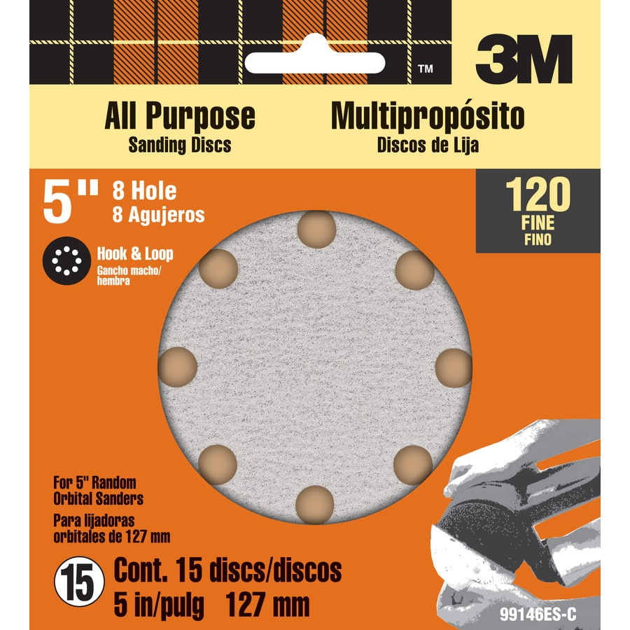 3M 15-Pack 5-in W x 5-in L 120-Grit Commercial Discs Sandpaper