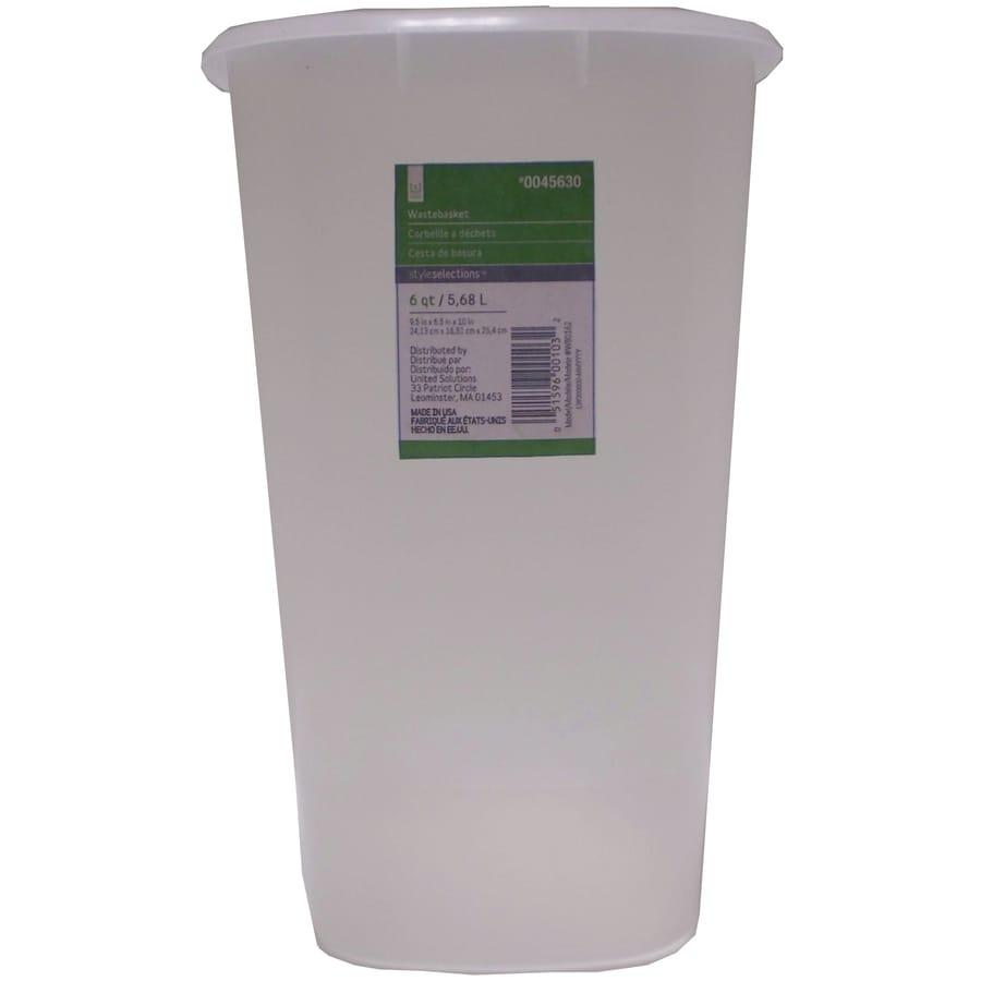 Style Selections White Plastic Wastebasket