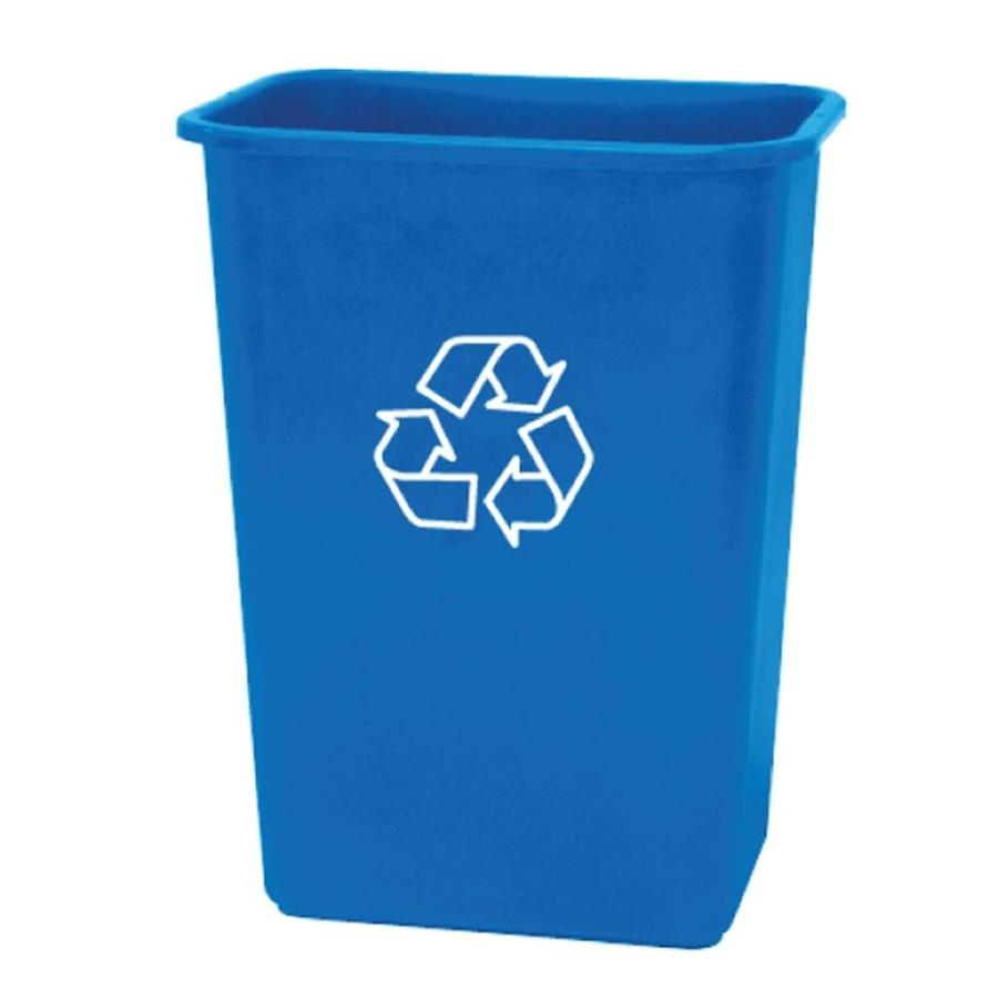 Style Selections 10.25-Gallon Blue Plastic Touchless Trash Can