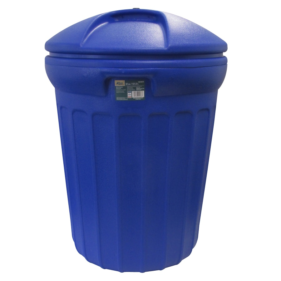 shop blue hawk 32 gallon blue plastic outdoor trash can with lid at. Black Bedroom Furniture Sets. Home Design Ideas