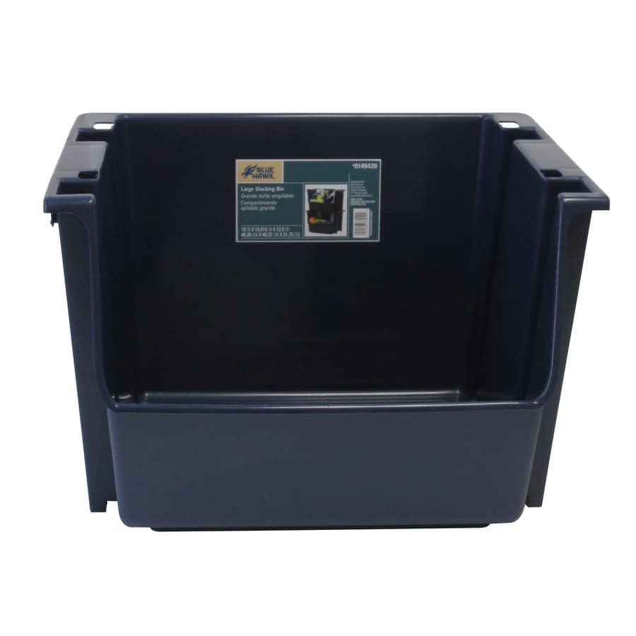 Blue Hawk 15.875-in W x 12.5-in H x 19-in D Navy Plastic Bin