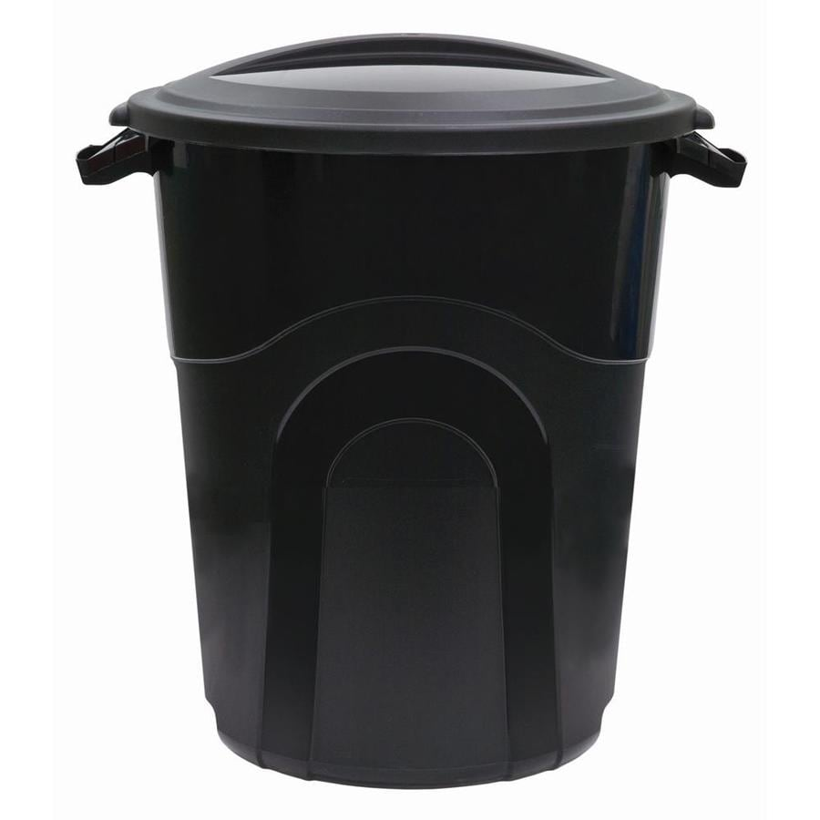 Blue Hawk 20 Gallon Black Plastic Trash Can With Lid In The Trash Cans Department At Lowes Com