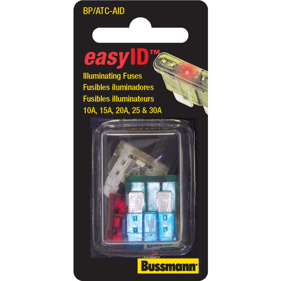 Cooper Bussmann ATC EasyID Assortment, Contains 1 Ea 10, 15, 20, 25, 30A, Carded