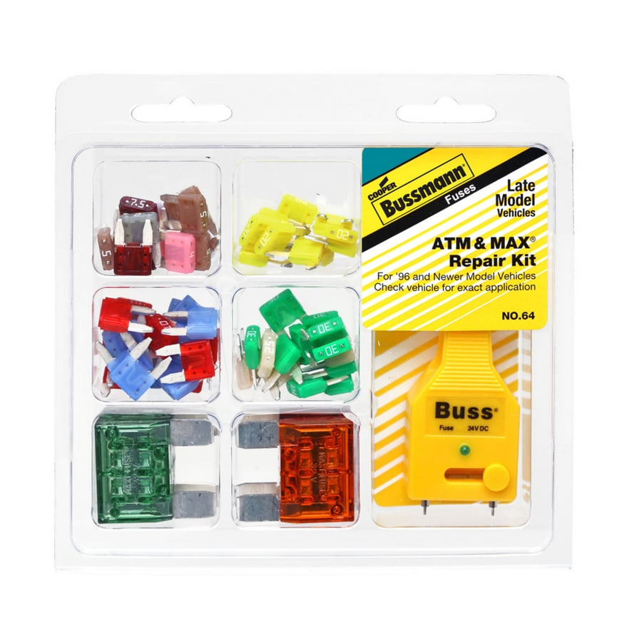 Cooper Bussmann 64 Piece ATM and MAX Fuse Kit with Fuse Tester/Puller