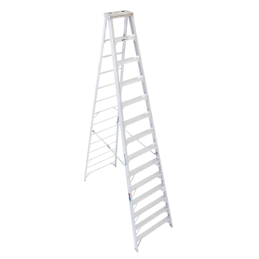 Shop Werner 14-ft Aluminum Type 1A - 300 lbs. Step Ladder at Lowes.com