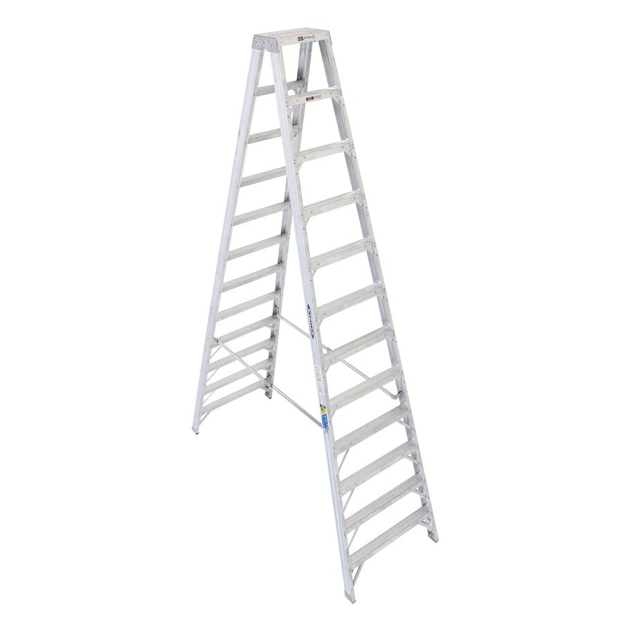 Werner 12-ft Aluminum 375-lb Type IAA Twin-Step Ladder