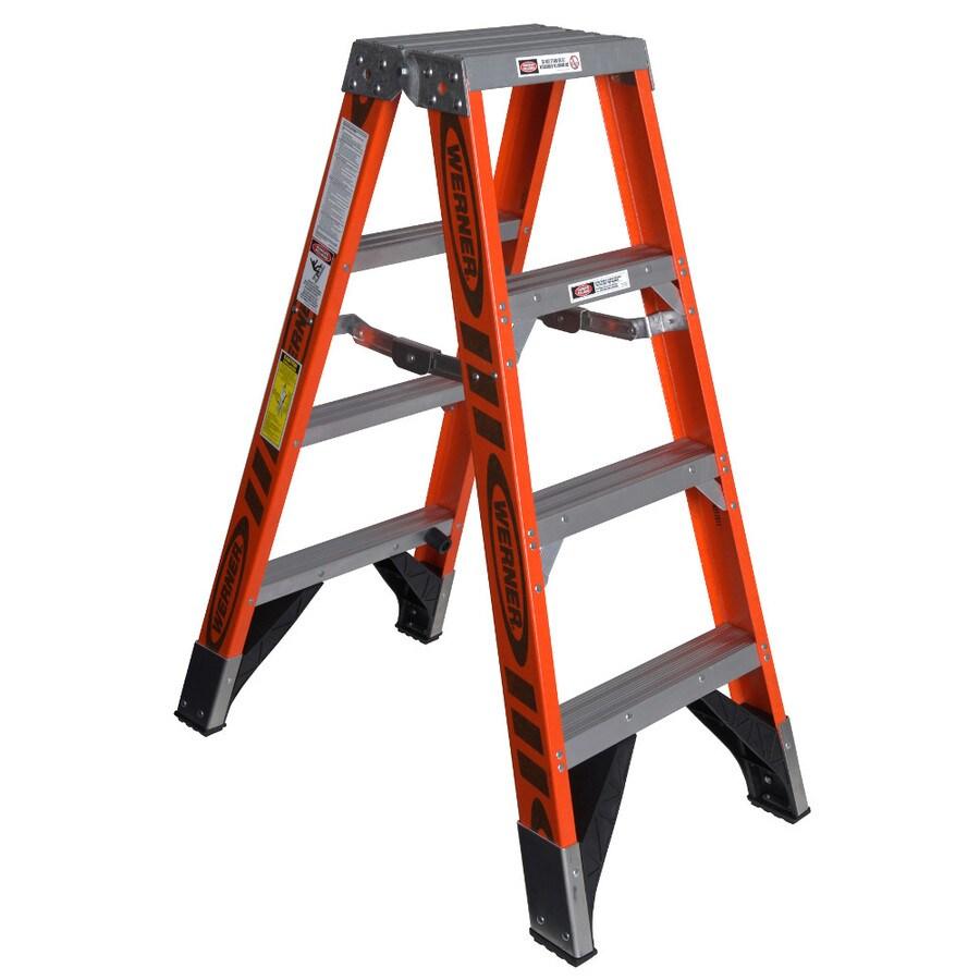 Werner 4-ft Fiberglass 375-lb Type IAA Twin-Step Ladder