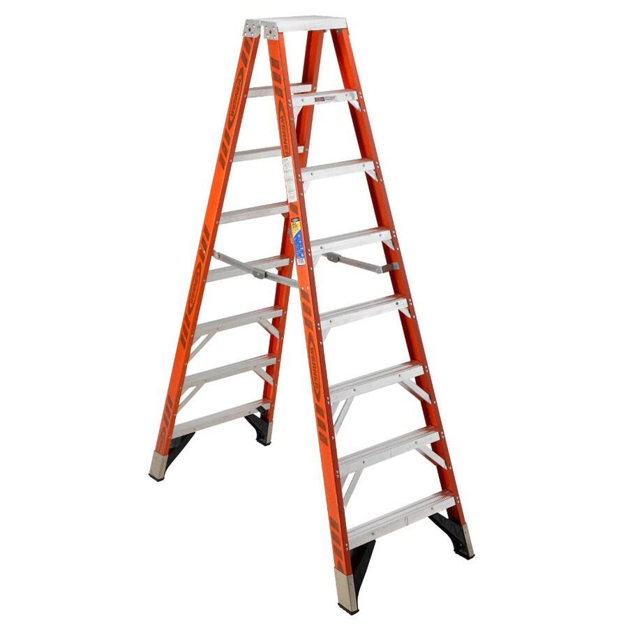 Werner 8-ft Fiberglass 375-lb Type Iaa Twin-Step Ladder