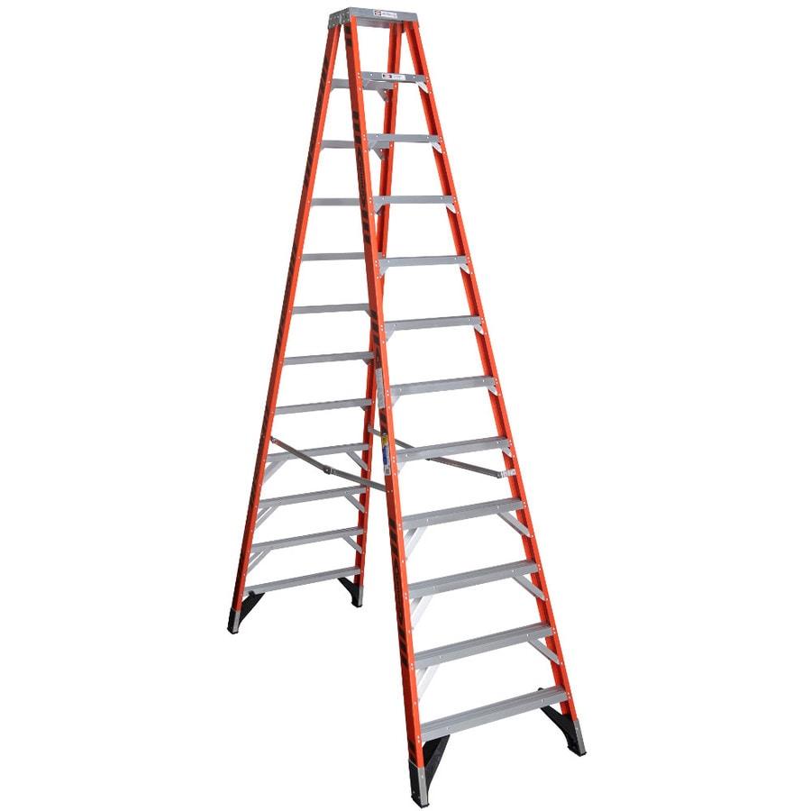 Werner 12-ft Fiberglass Type 1AA - 375 lbs. Twin Step Ladder