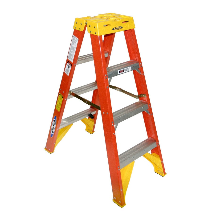 Werner 4-ft Fiberglass 300-lb Type IA Twin-Step Ladder
