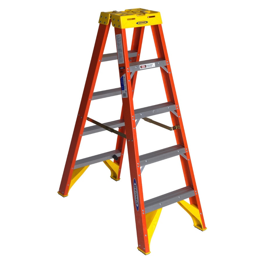 Werner 5-ft Fiberglass 300-lb Type IA Twin-Step Ladder