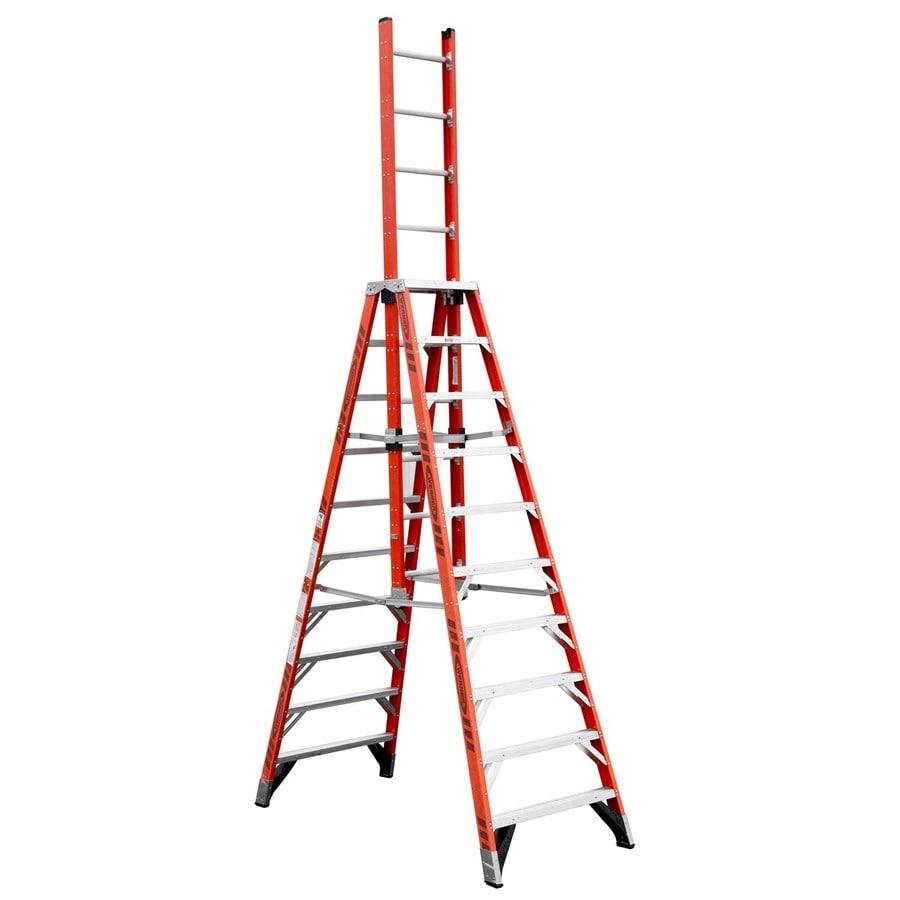Werner 10-ft Fiberglass 300-lb Type IA Trestle Ladder