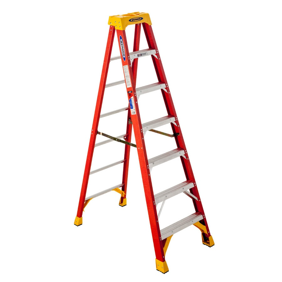 Shop Werner Fiberglass Type 1a 300 Lbs Step Ladder At