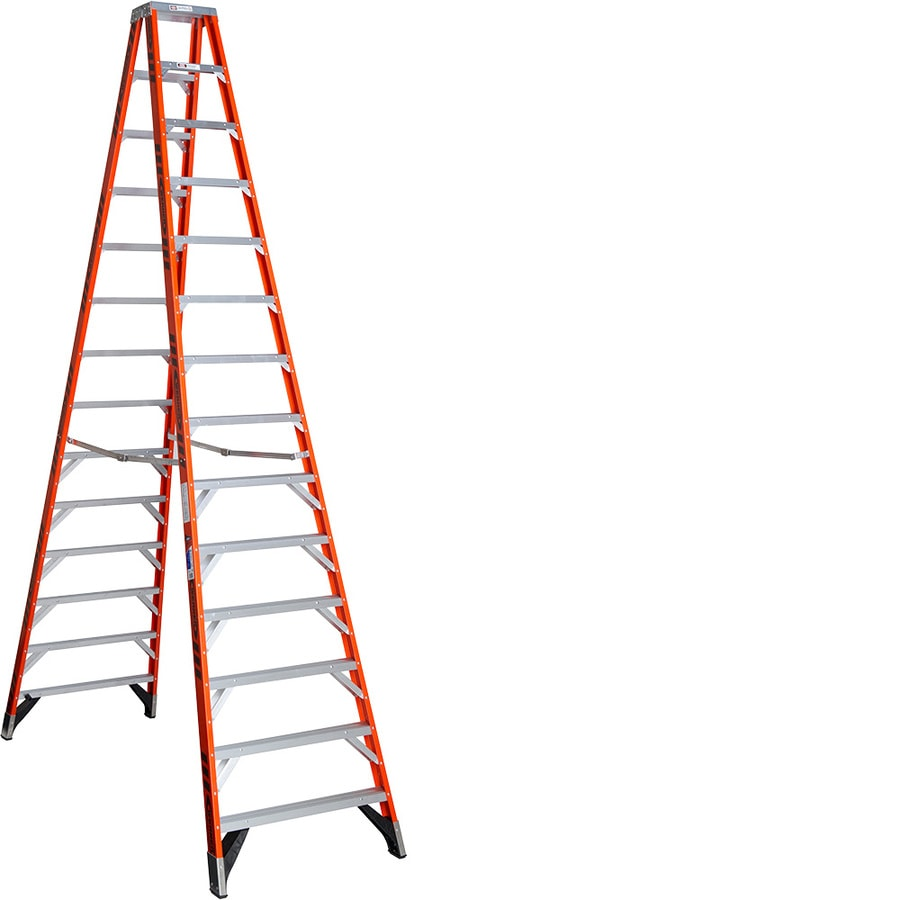Shop Werner 14 Ft Fiberglass 300 Lb Type Ia Step Ladder At