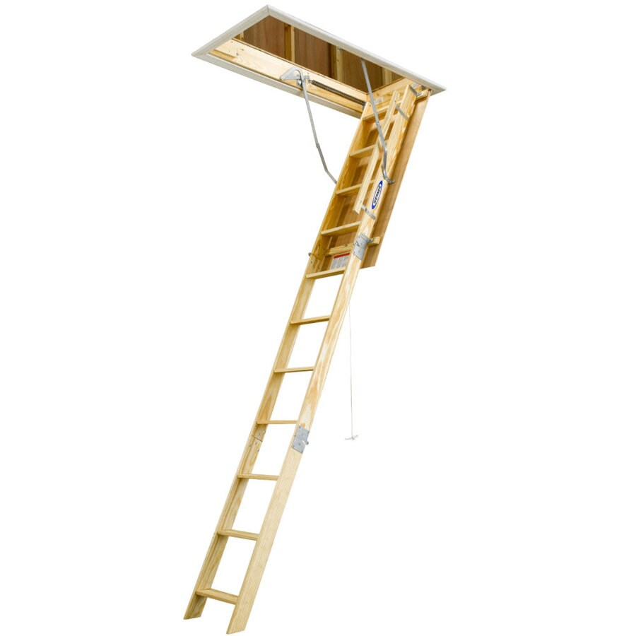 Werner 8.75-ft to 10.33-ft Type I Wood Attic Ladder