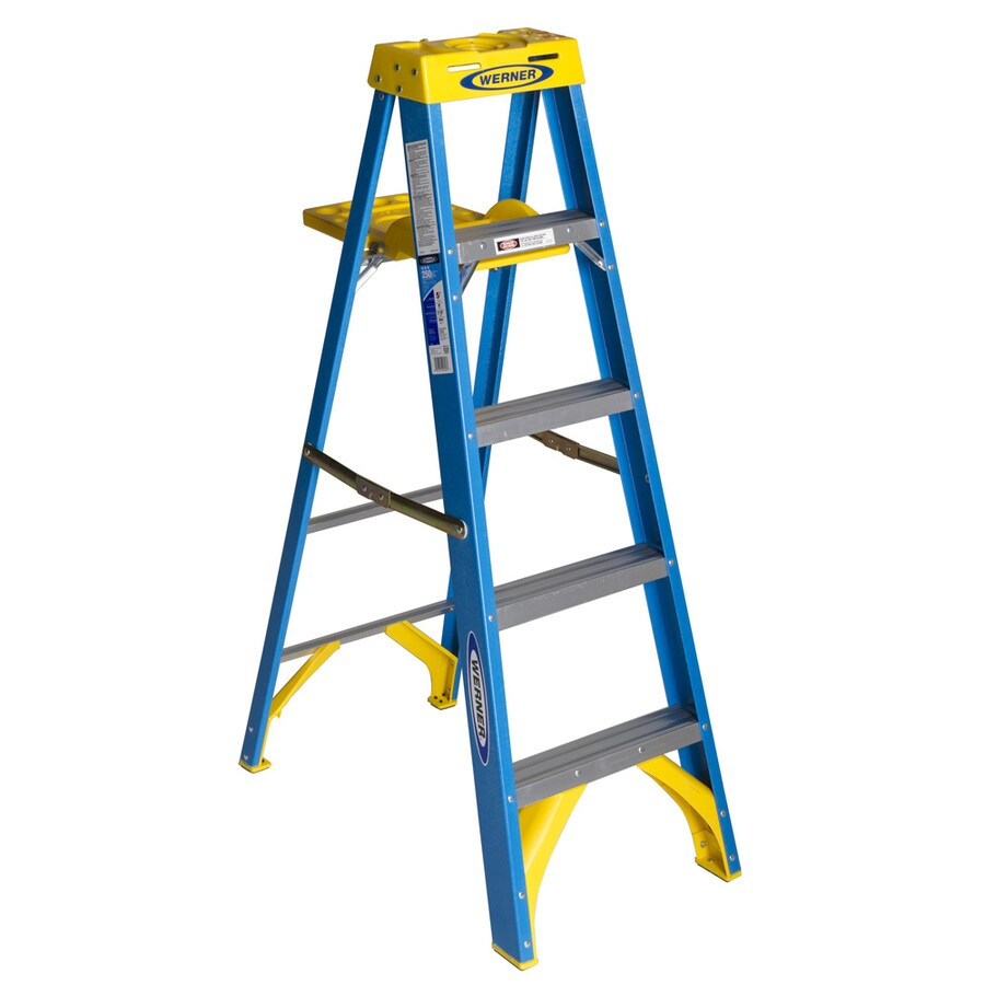 Shop Werner 5 Ft Fiberglass 250 Lb Type I Step Ladder At