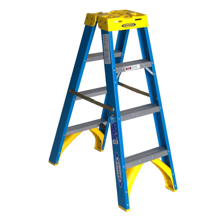Werner 4-ft Fiberglass 250-lb Type I Twin-Step Ladder