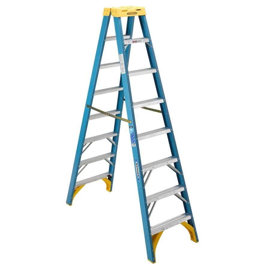 Werner 8-ft Fiberglass 250-lb Type I Twin-Step Ladder