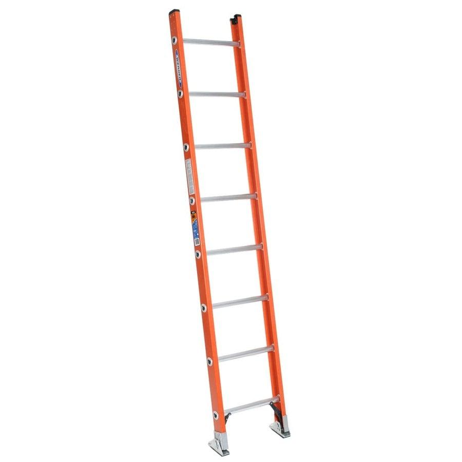 Werner 8-ft Fiberglass 300-lb Type IA Straight Ladder