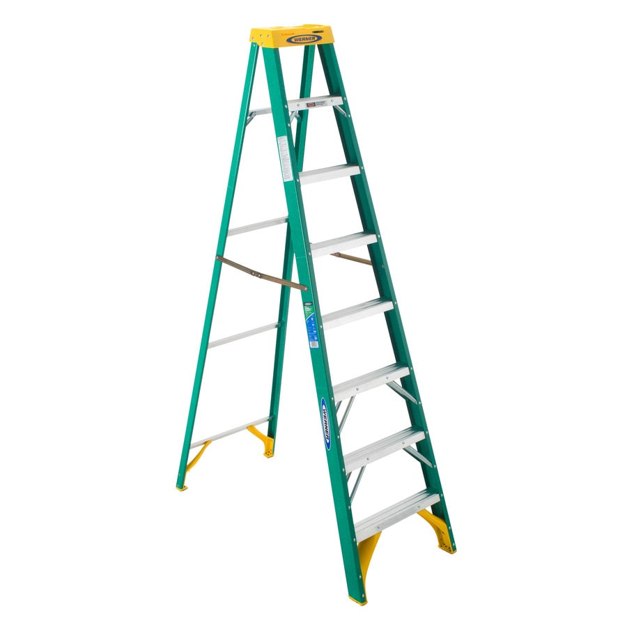 Werner 8-ft Fiberglass 225-lb Type II Step Ladder
