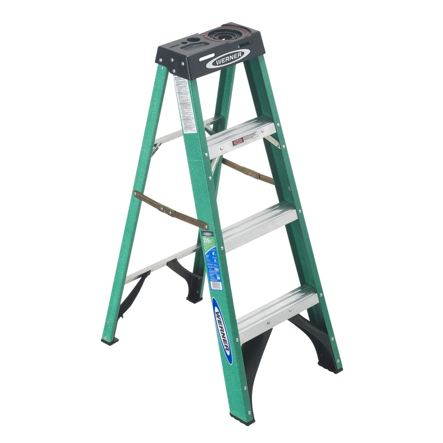Werner 4-ft Fiberglass 225-lb Type II Step Ladder