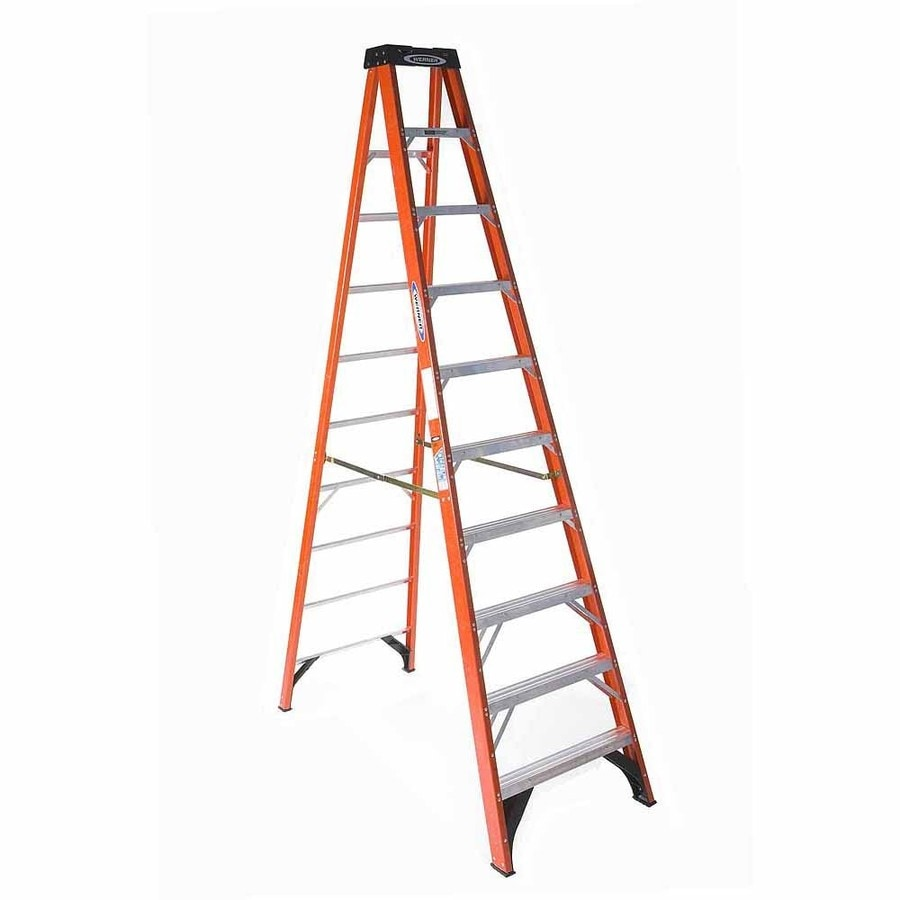Werner 10-ft Fiberglass 300-lb Type IA Step Ladder