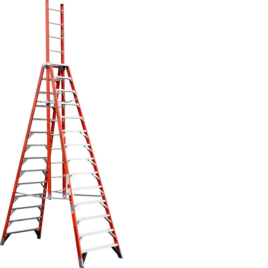 Werner 14-ft Fiberglass 300-lb Type IA Trestle Ladder