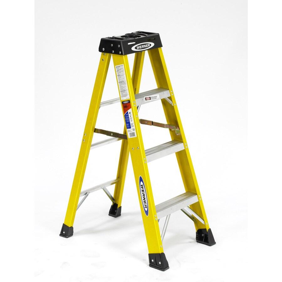 Werner 4-ft Fiberglass 300-lb Type Ia Step Ladder