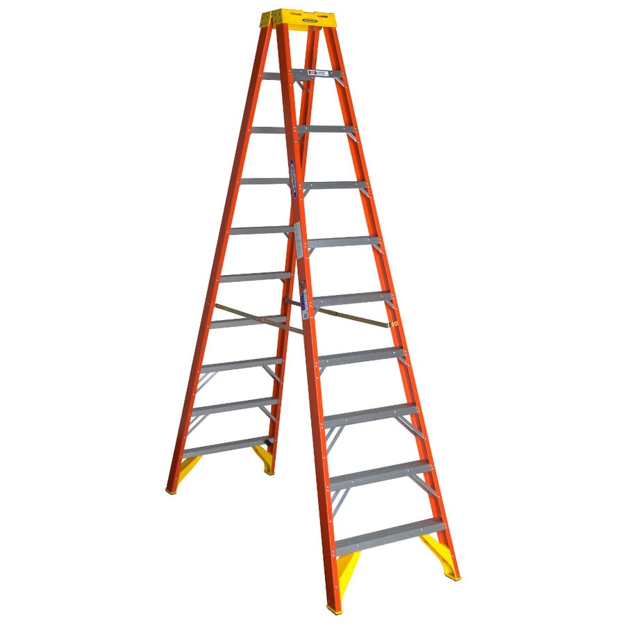 Werner 10-ft Fiberglass Type 1A - 300 lbs. Twin Step Ladder