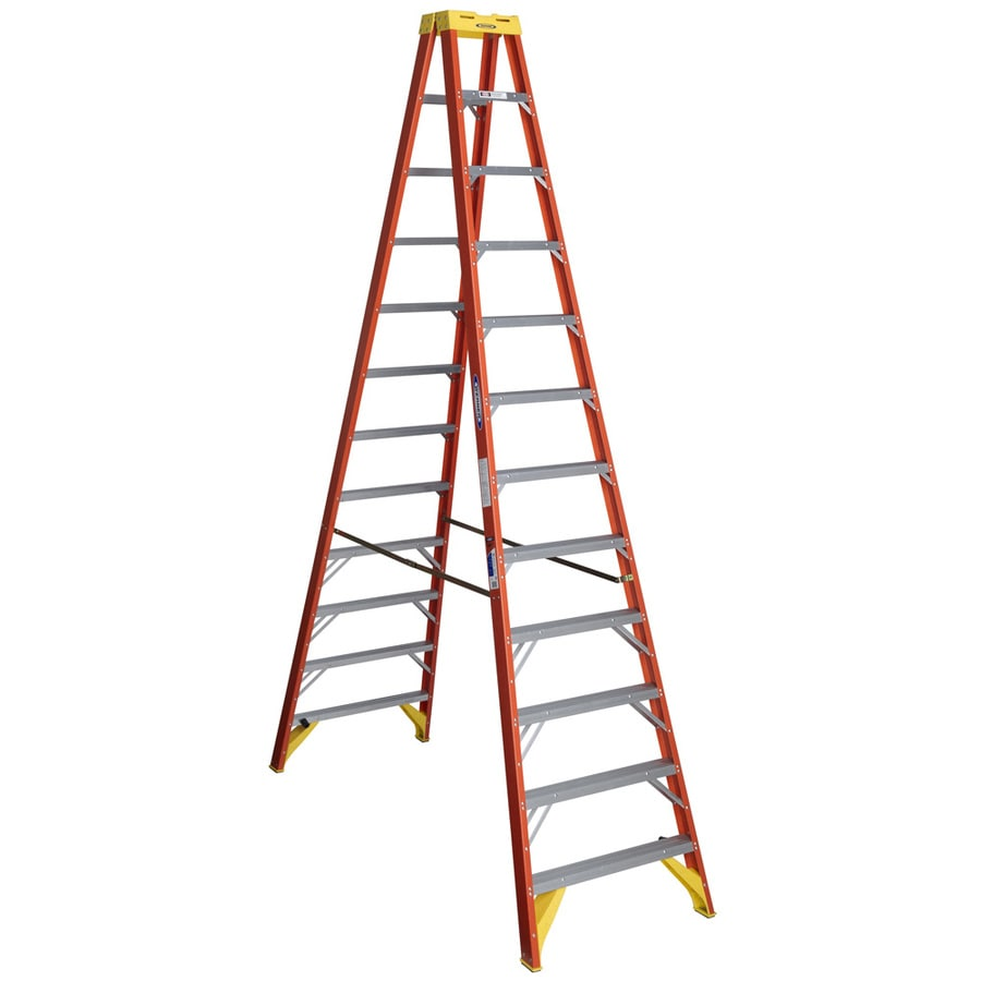 Werner 12-ft Fiberglass 300-lb Type IA Twin-Step Ladder