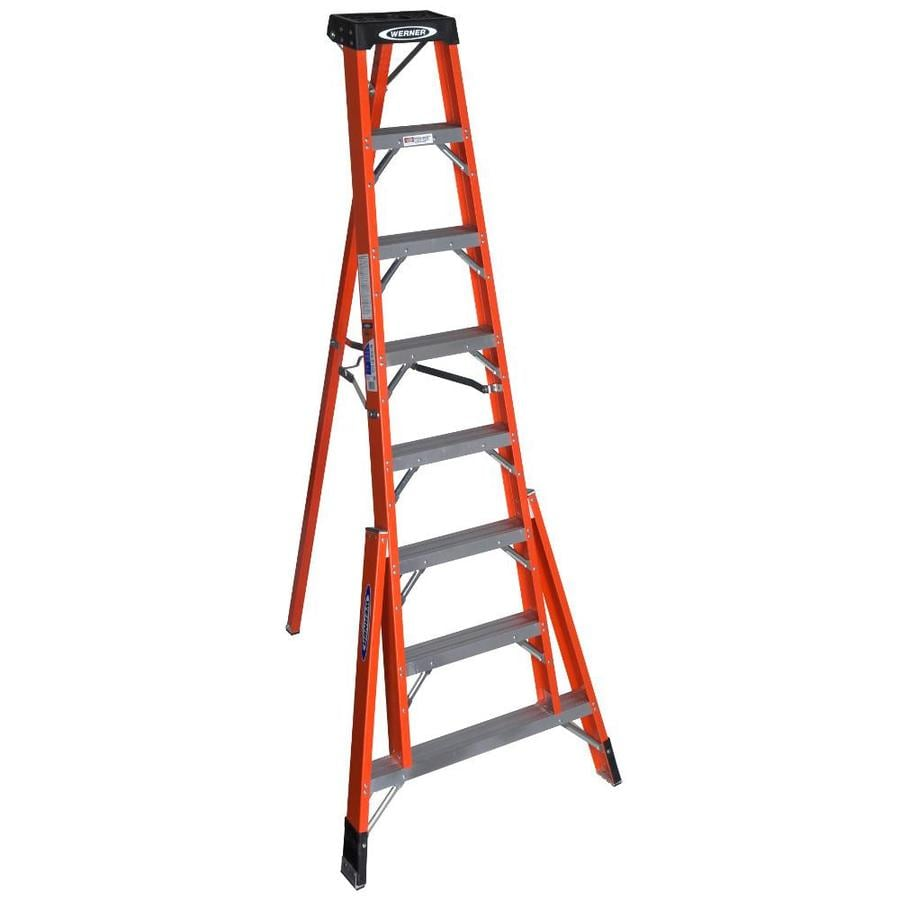 Werner 8-ft Fiberglass Type 1A - 300 lbs. Tripod Step Ladder
