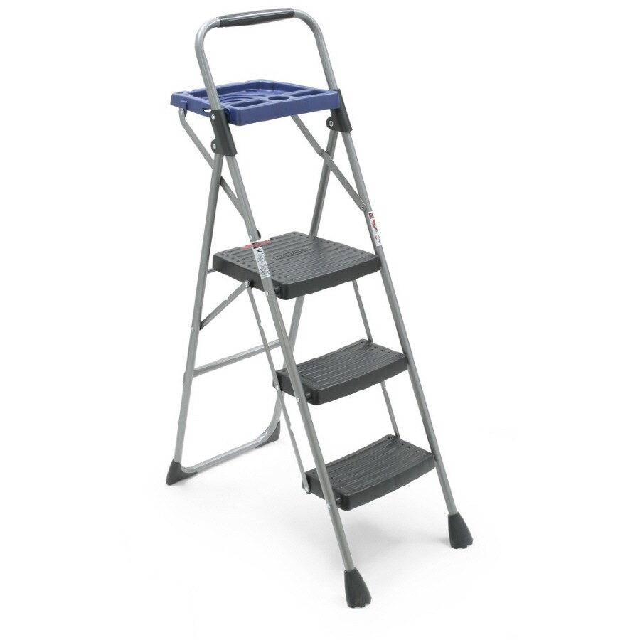 Werner 3-Step 250-lb Gray Steel Step Stool