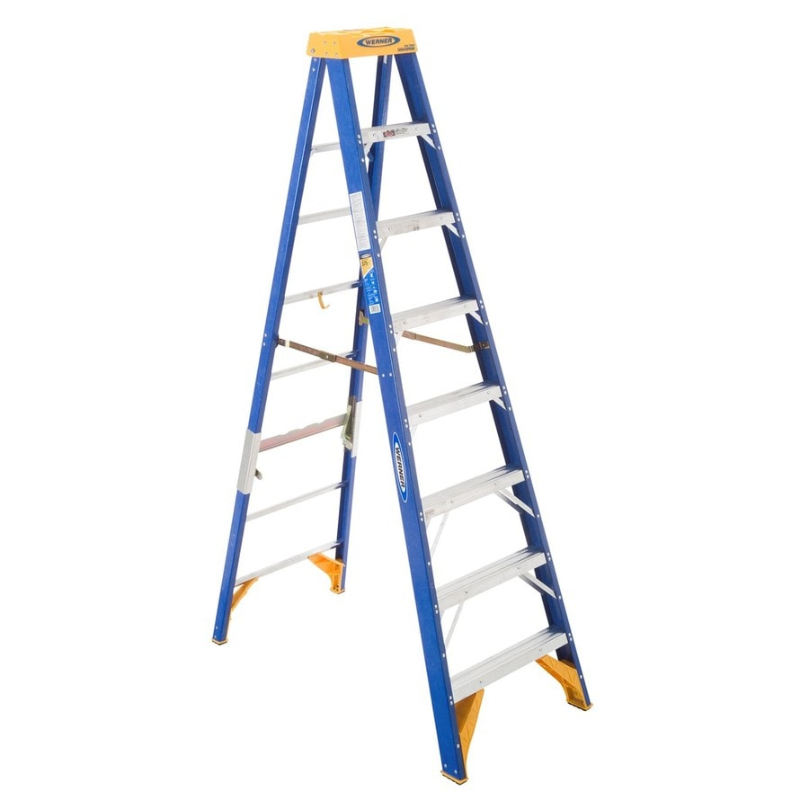 Werner 8-ft Fiberglass 375-lb Type IAA Step Ladder