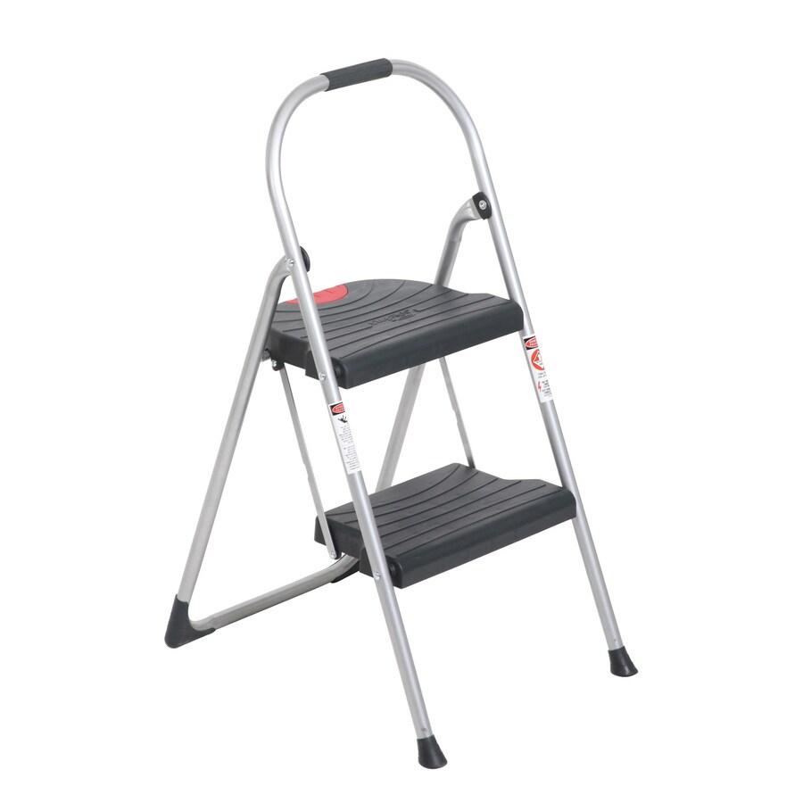 Werner 2-Step 225-lb Gray Steel Step Stool