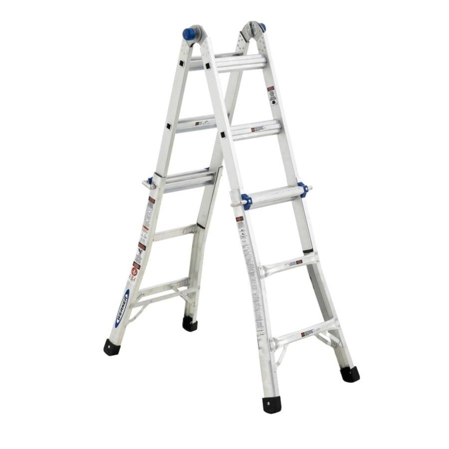 Werner 13-ft Aluminum 225-lb Telescoping Type II Multi-Position Ladder